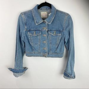 Free People cropped jean jacket light wash